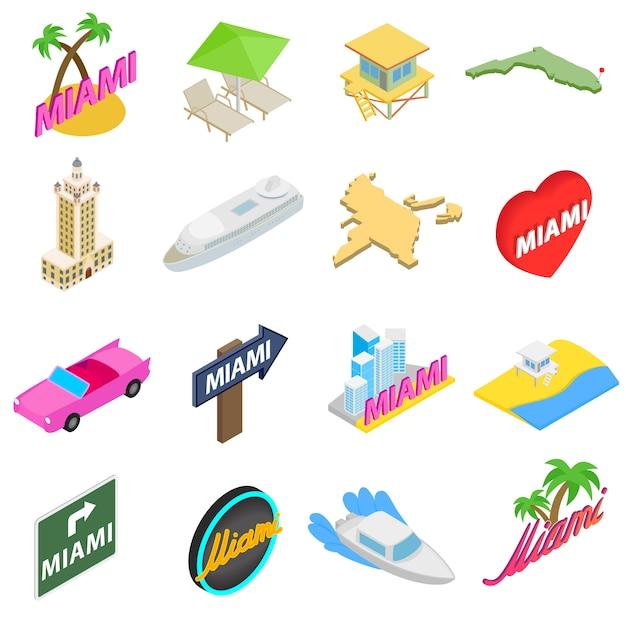 Conjunto de ícones de miami em estilo 3d isométrico isolado no fundo branco Vetor Premium