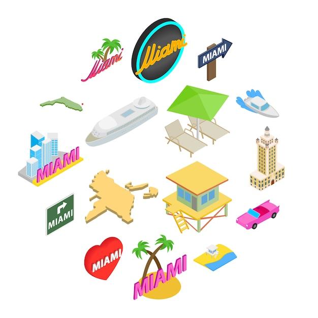 Conjunto de ícones de miami, estilo isométrico Vetor Premium
