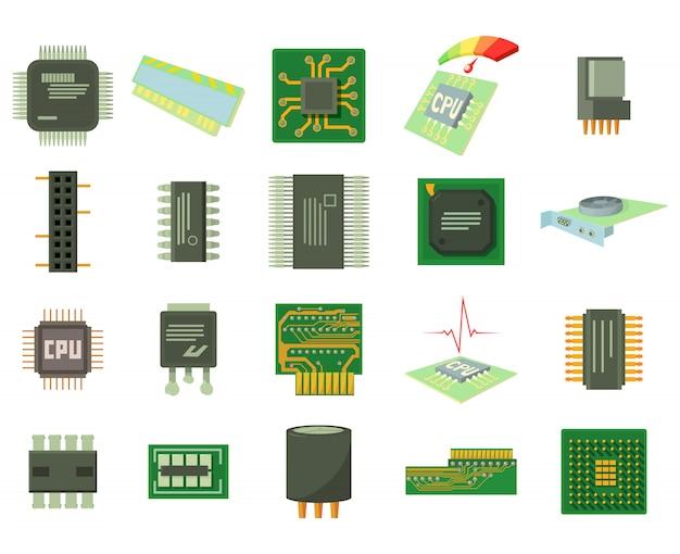 Conjunto de ícones de micro chip Vetor Premium