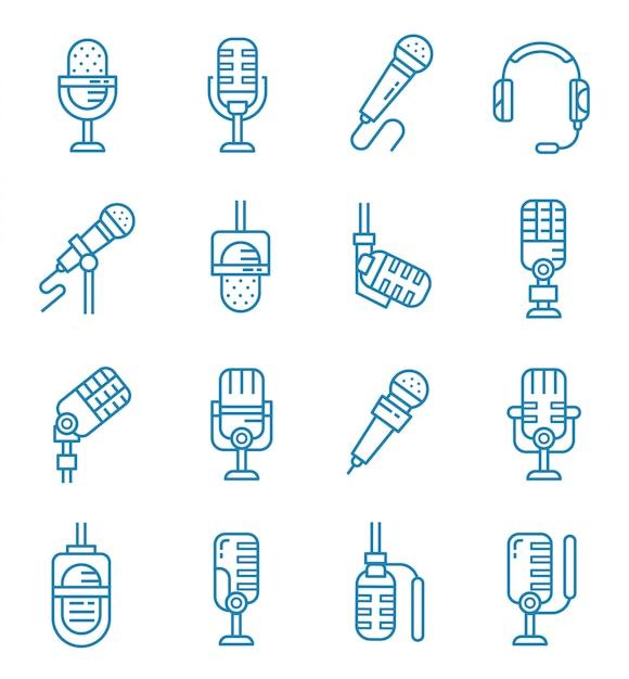 Conjunto de ícones de microfone com estilo de estrutura de tópicos Vetor Premium