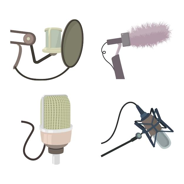 Conjunto de ícones de microfone de estúdio Vetor Premium