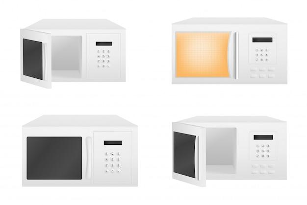 Conjunto de ícones de microondas, estilo realista Vetor Premium