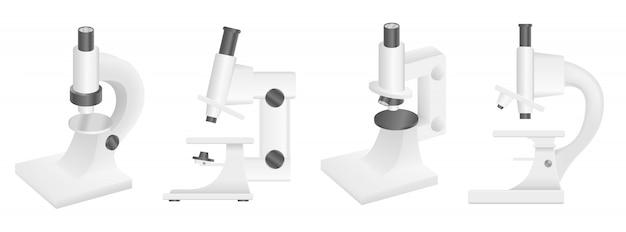 Conjunto de ícones de microscópio, estilo realista Vetor Premium