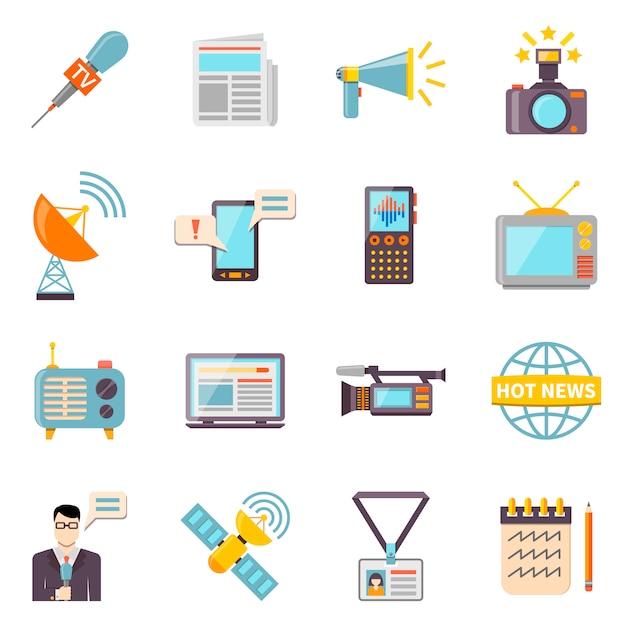 Conjunto de ícones de mídia de massa Vetor Premium