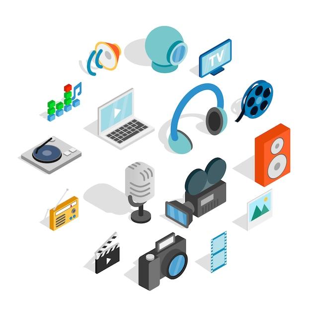 Conjunto de ícones de mídia, estilo 3d isométrico Vetor Premium