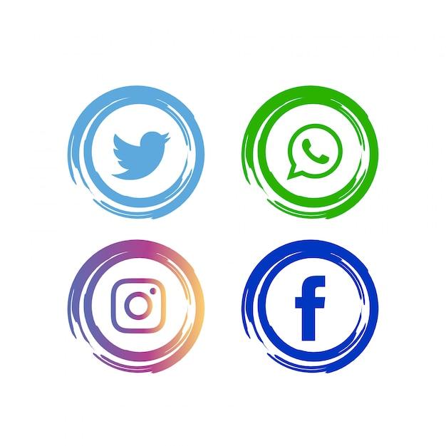 Conjunto de ícones de mídia social abstrata Vetor grátis