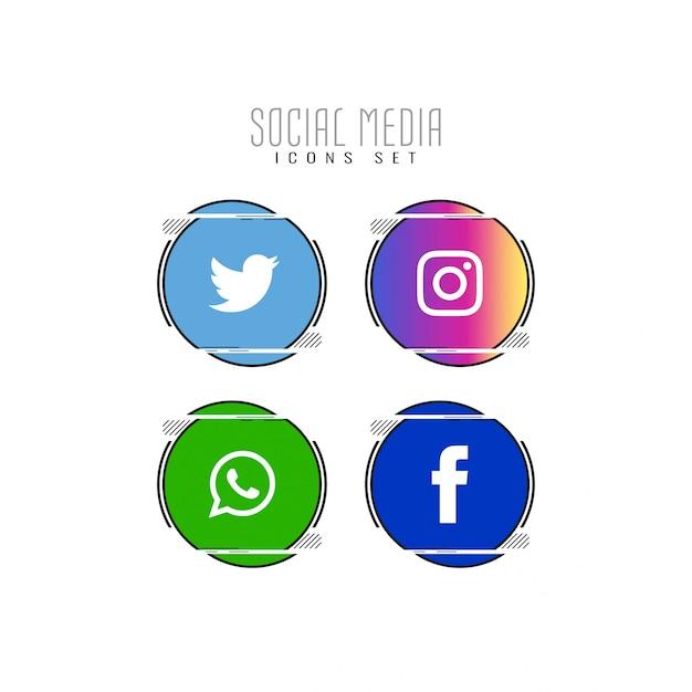 Conjunto de ícones de mídia social abstrata Vetor Premium