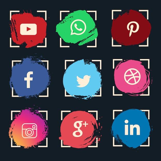 Conjunto de ícones de mídia social aquarela Vetor grátis