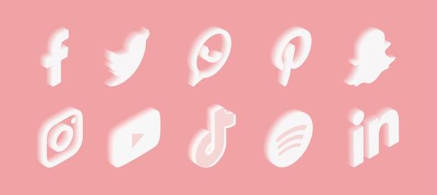Conjunto de ícones de mídia social com gradiente em rosa Vetor grátis