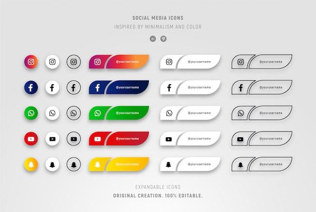 Conjunto de ícones de mídia social com gradientes e minimalistas. Vetor Premium