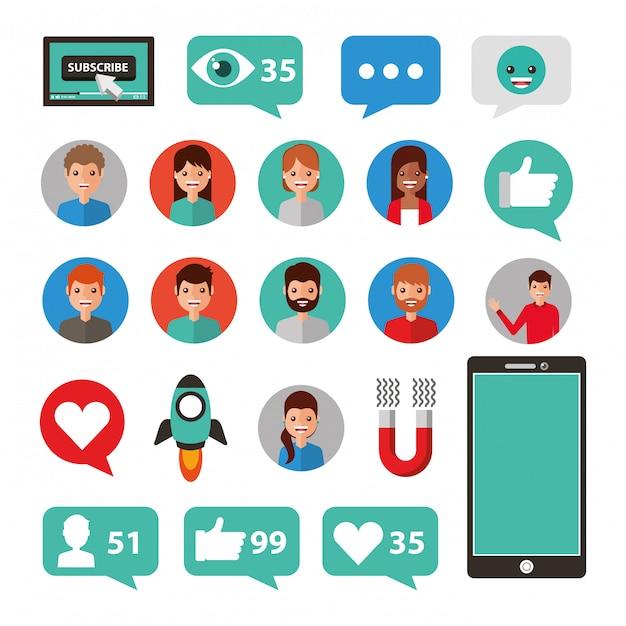 Conjunto de ícones de mídia social e multimídia Vetor grátis