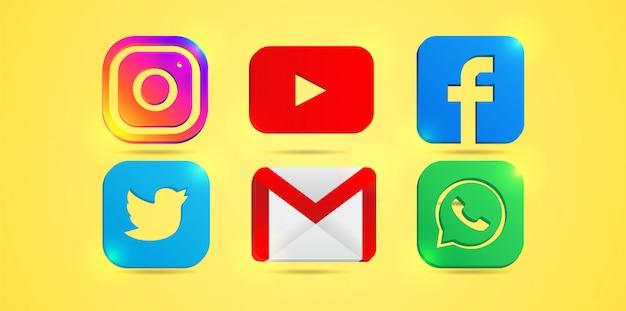 Conjunto de ícones de mídia social mais populares: instagram, youtube, facebook. twitter, email e whatsapp. Vetor Premium