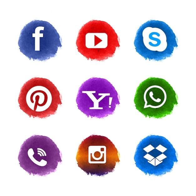 Conjunto de ícones de mídia social Vetor grátis