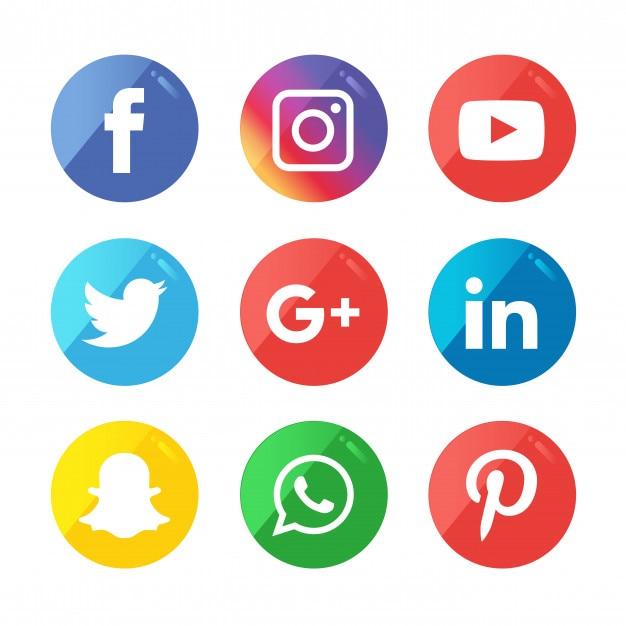 Conjunto de ícones de mídia social. Vetor Premium