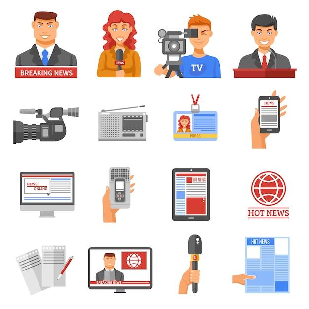 Conjunto de ícones de mídia Vetor Premium
