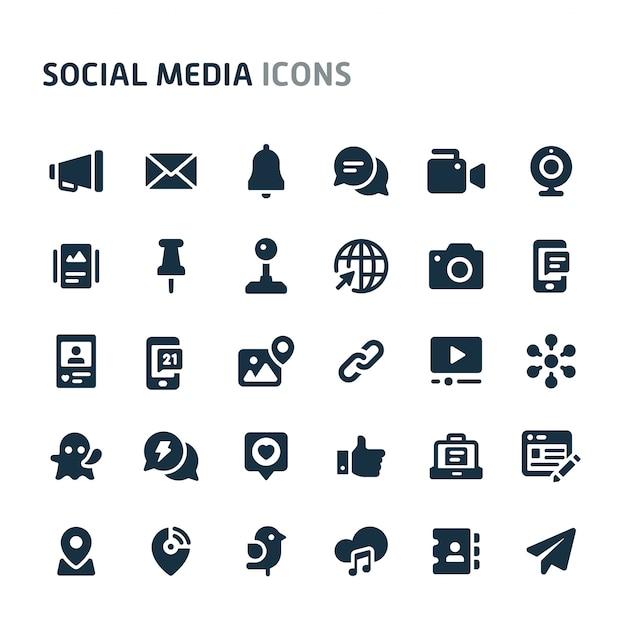 Conjunto de ícones de mídias sociais. série de ícone preto fillio. Vetor Premium