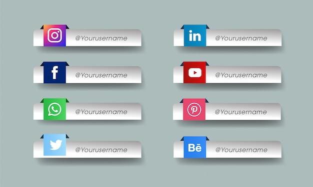 Conjunto de ícones de mídias sociais Vetor Premium