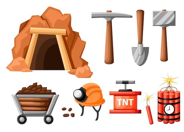 Conjunto de ícones de mineração. entrada da mina e ferramentas para mineração e extração. túnel retrô. minha velha. ilustração em fundo branco Vetor Premium