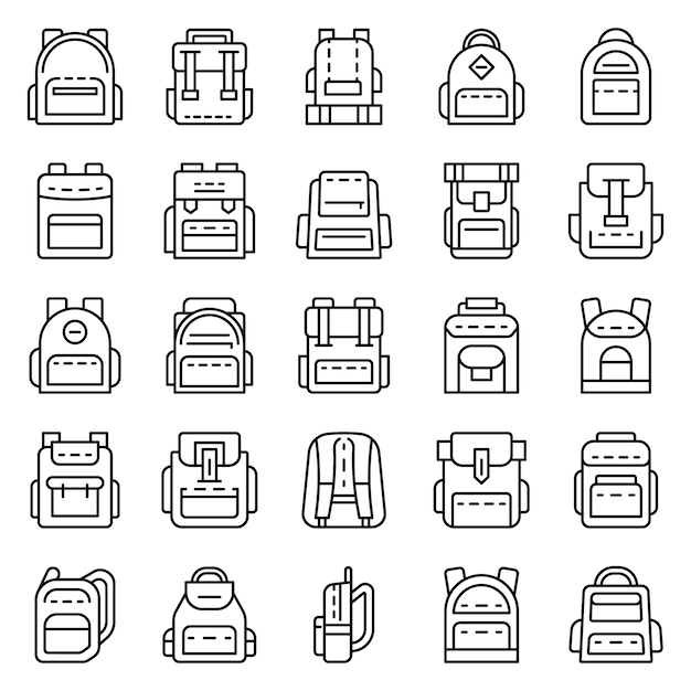 Conjunto de ícones de mochila. conjunto de contorno de ícones do vetor de mochila Vetor Premium