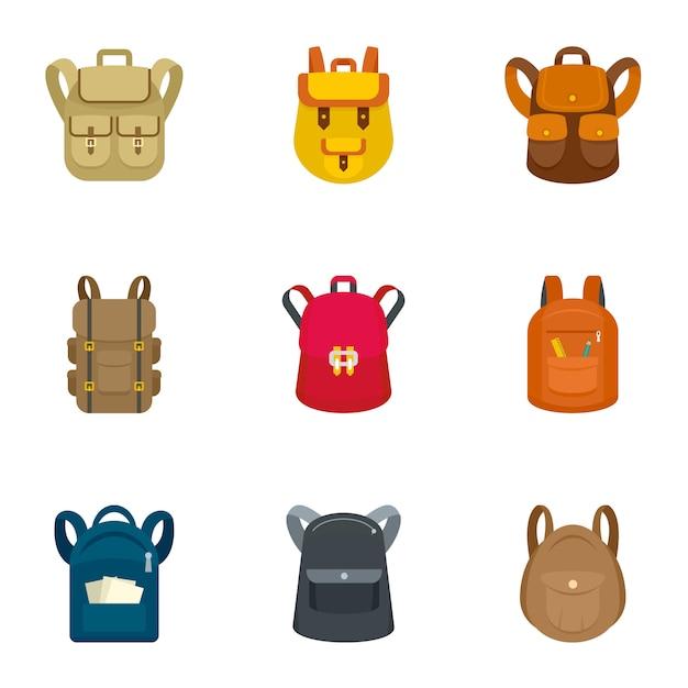 Conjunto de ícones de mochila escolar. plano conjunto de 9 ícones de vetor de mochila escolar Vetor Premium