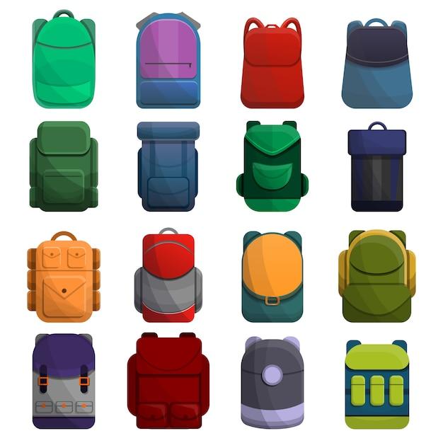 Conjunto de ícones de mochila, estilo cartoon Vetor Premium