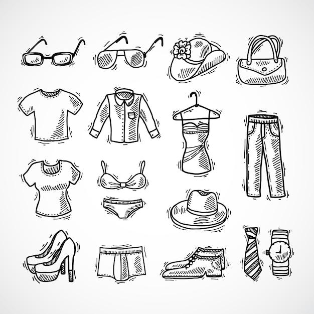 Conjunto de ícones de moda Vetor grátis