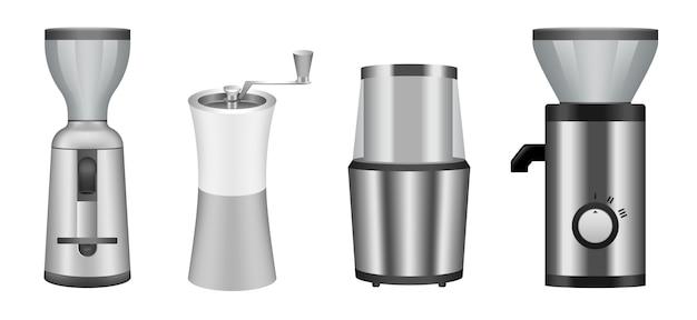 Conjunto de ícones de moedor de café Vetor Premium