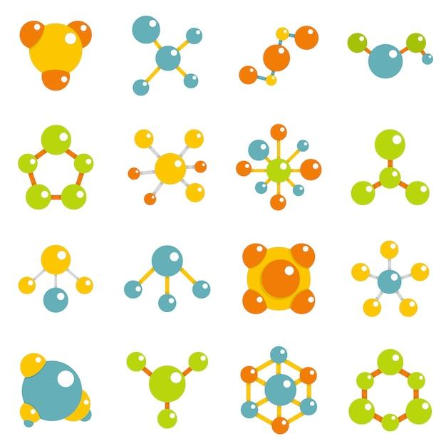 Conjunto de ícones de molécula em estilo simples Vetor Premium