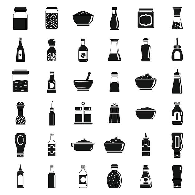 Conjunto de ícones de molho condimento Vetor Premium