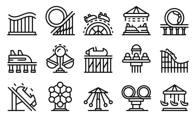 Conjunto de ícones de montanha-russa Vetor Premium