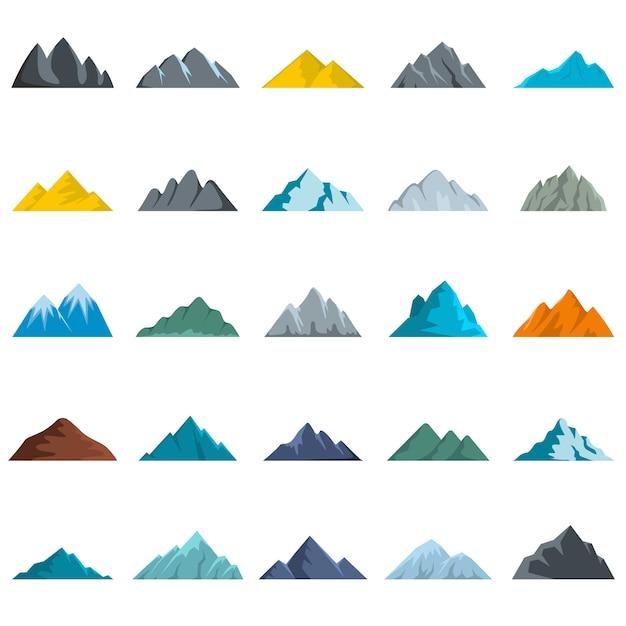 Conjunto de ícones de montanha Vetor Premium