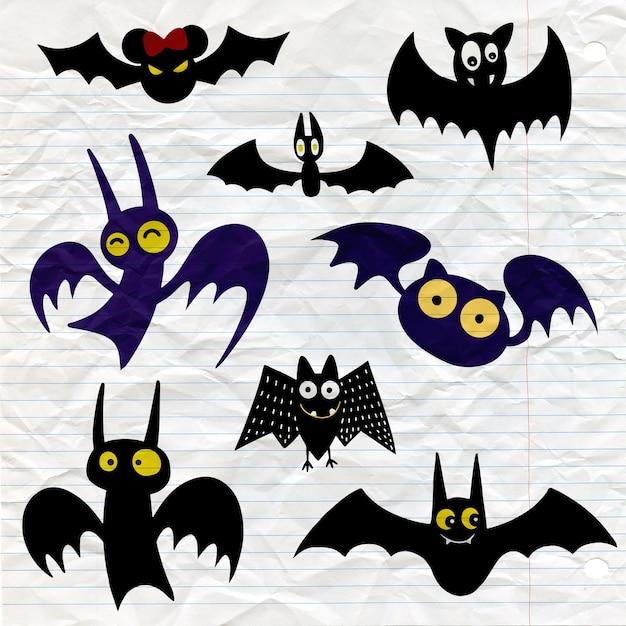 Conjunto de ícones de morcego negro de halloween. silhuetas de morcegos. símbolo do dia das bruxas Vetor Premium