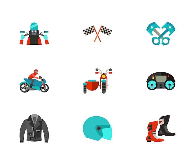 Conjunto de ícones de motociclismo Vetor grátis