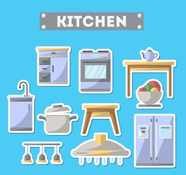 Conjunto de ícones de móveis de cozinha em estilo simples Vetor Premium