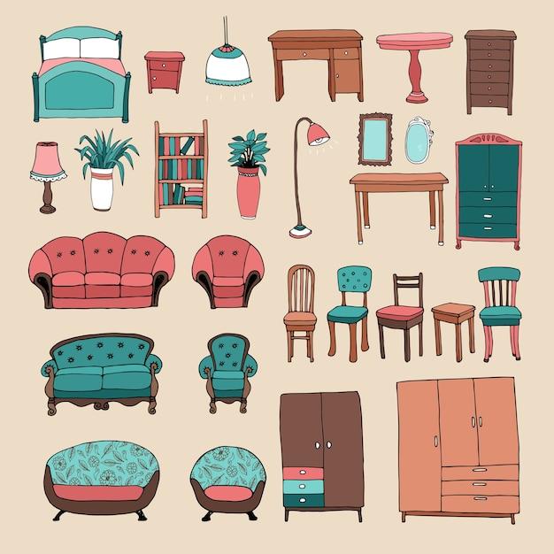 Conjunto de ícones de móveis e acessórios para casa Vetor grátis