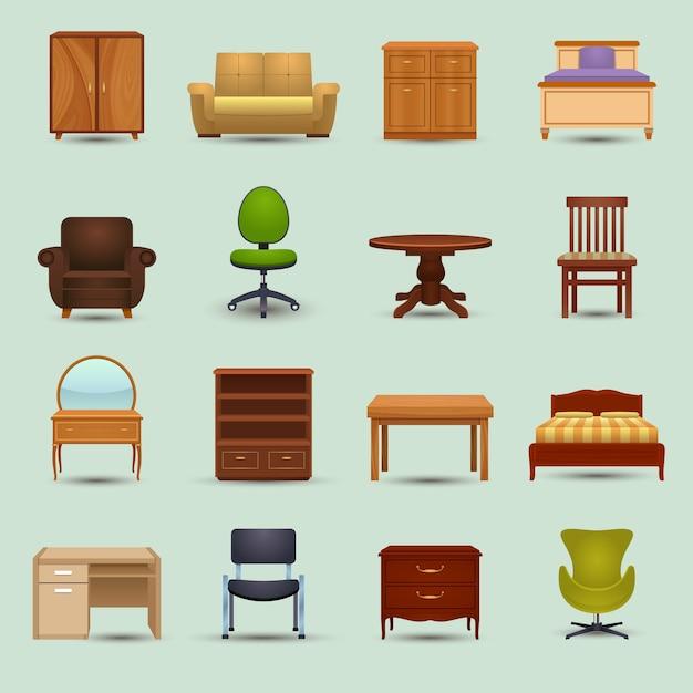Conjunto de ícones de móveis Vetor grátis