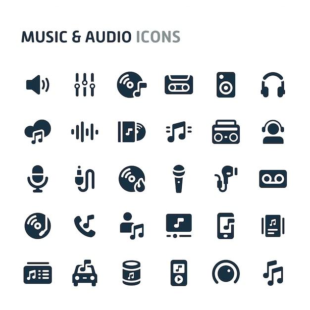 Conjunto de ícones de música e áudio. série de ícone preto fillio. Vetor Premium