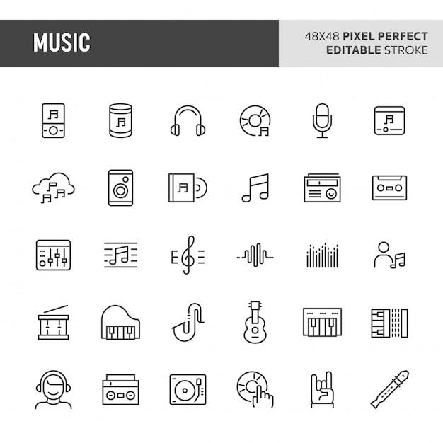 Conjunto de ícones de música e instrumento Vetor Premium