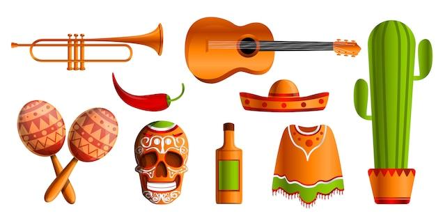 Conjunto de ícones de música mexicana, estilo cartoon Vetor Premium