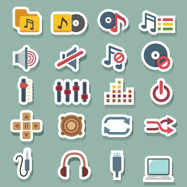 Conjunto de ícones de música Vetor Premium