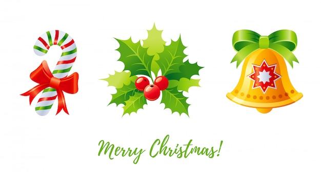 Conjunto de ícones de natal. desenhos animados andy cane, azevinho, azevinho. Vetor Premium