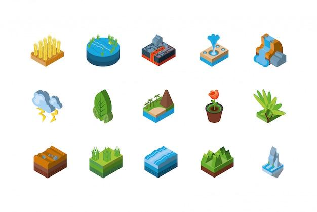 Conjunto de ícones de natureza isométrica isolado Vetor Premium