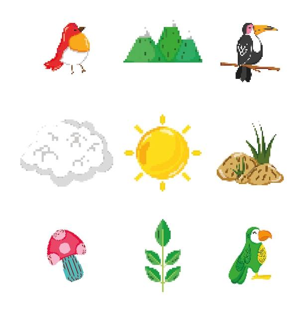 Conjunto de ícones de natureza pixelizada Vetor Premium