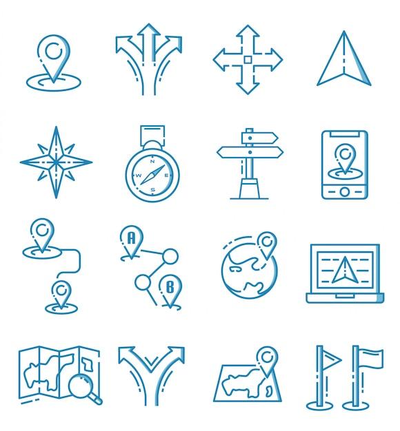 Conjunto de ícones de navegação com estilo de estrutura de tópicos Vetor Premium