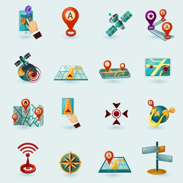 Conjunto de ícones de navegação Vetor grátis