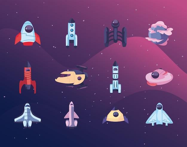 Conjunto de ícones de naves espaciais, foguetes espaciais e planeta Vetor Premium