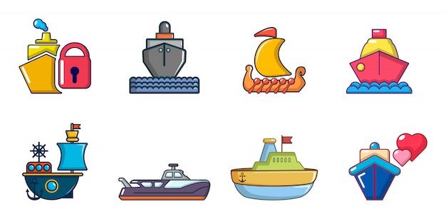 Conjunto de ícones de navio. conjunto de desenhos animados de ícones de vetor de navio conjunto isolado Vetor Premium