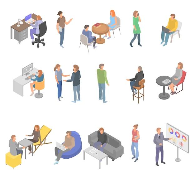 Conjunto de ícones de negócios de escritório coworking, estilo isométrico Vetor Premium