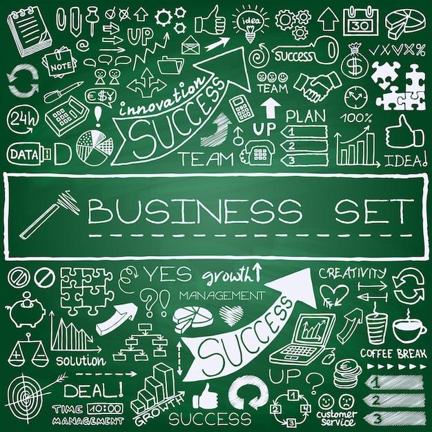 Conjunto de ícones de negócios de mão desenhada Vetor Premium