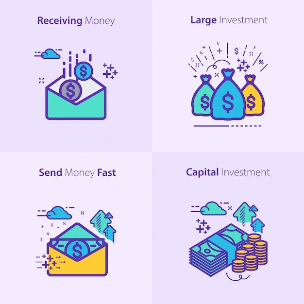 Conjunto de ícones de negócios e finanças conceito Vetor Premium